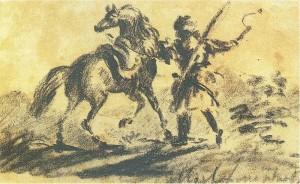 Черкес с лошадью