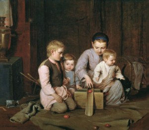 дети катают яйца