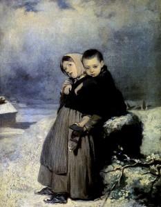 Дети-сироты на кладбище