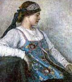 девушка в древнерусском костюме