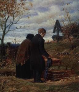 Старики родители на могиле сына
