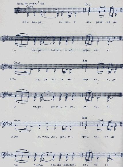 музыкальная нотация к фольклорной песне ты заря моя зоренька
