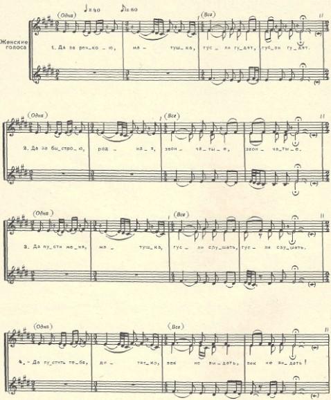 музыкальная нотация к фольклорной песне Да за речкою, матушка, гусли гудят