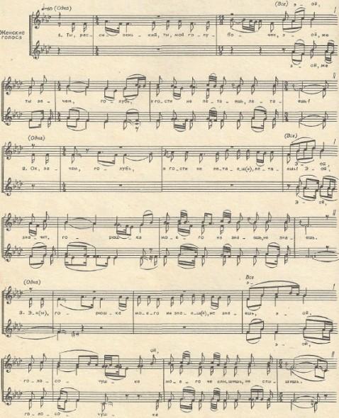 лирическая песня для женского хора - Ты, рассизенький, ты, мой голубочек