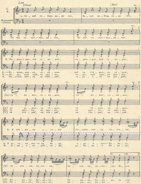 музыкальная нотация к песне  Белый лебедь воду пил