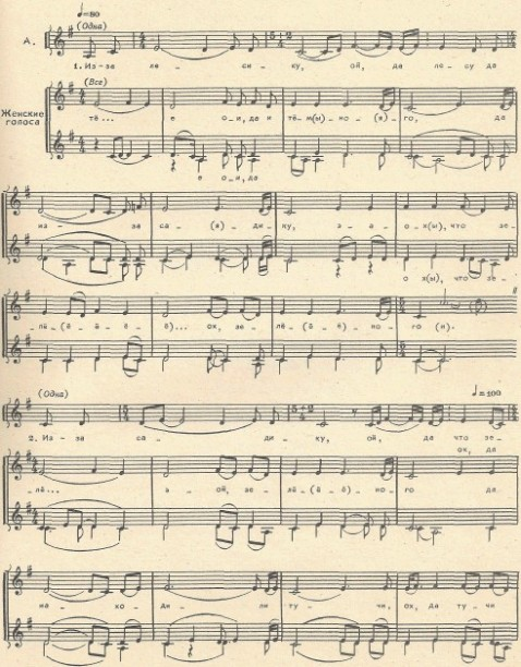 фольклорная песня - Из-за лесику, ой, да лесу тёмного