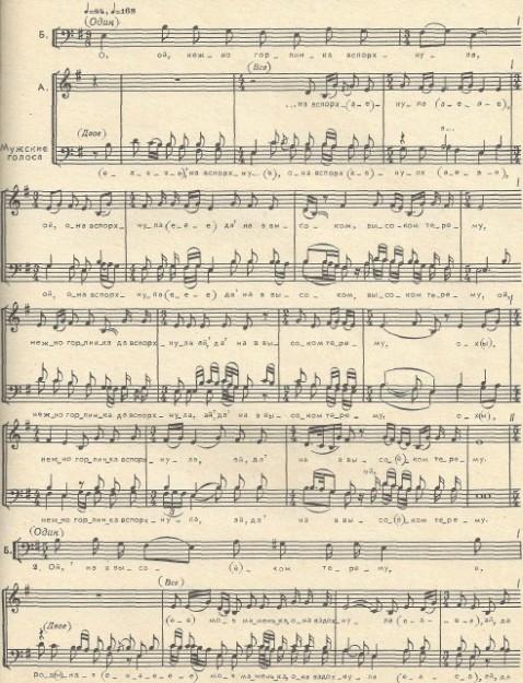 Музыкальная нотация к песне - Ой, нежно горлинка вспорхнула