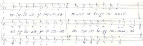 Музыкальная нотация Да как я молода - плясовая песня