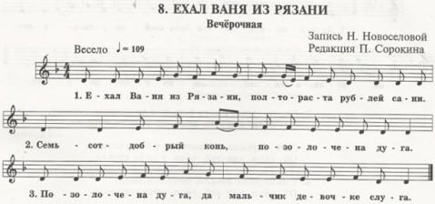 ноты - Ехал Ваня из Рязани