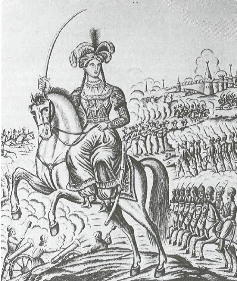 Бобелина на коне с саблей